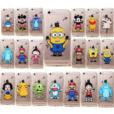 Transparent Cute ultrathin Cartoon TPU soft back Case For iPhone 4S 5C 5S 6 4.7""