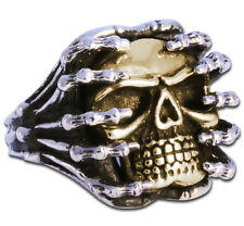 Ring Mens Biker Skull sterling silver Heavy Metal 22 grams handmade jewelry 925