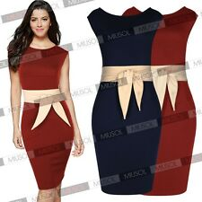 Womens Formal Contrast Peplum Business Evening Party Pencil Mini Bodycon Dresses