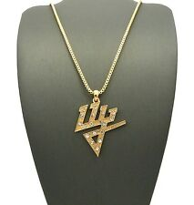 "NEW ICED OUT DADDY YANKEE PENDANT &2mm/24"" BOX CHAIN HIP HOP NECKLACE - XSP432BX"