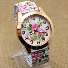 Fashion Charm Flower Print Dial Stretch Band Women Lady Girl Quartz Wrist Watch
