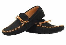Mens Faux Suede Leather Black Orange Loafers Slip Ons Boat Shoes Moccasins
