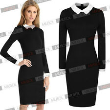 Women's Tunic Stretch Bodycon Doll Collar OL Career Cocktail Party Pencil Dress