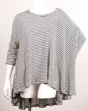 FREE PEOPLE 3/4 SLEEVE CIRCLE IN THE SAND WHITE STRIPED WASH OVERSIZED TEE TOP