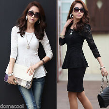Women Floral Lace T-shirt Long Sleeve Shirt Peplum Crewneck Slim Fit Blouse Tops