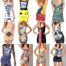 Women Sexy Digital Printed Mini Dress Slim Punk Bodycon Hip Vest Skirt Clubwear