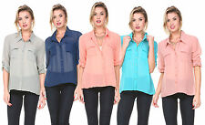 Women Chiffon Blouse Long Sleeve Casual Tops Button Down Shirt Ladies Blouse