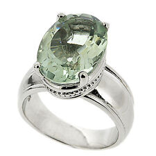 925 Sterling Silver Large 5.10ct Natural Green Amethyst Massive Ring
