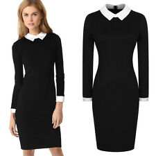 Women Vintage Stretch Doll Collar OL Career Cocktail Party Tunic Pencil Dresses
