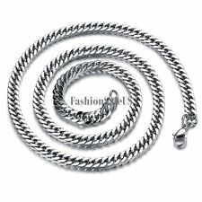Men's 3mm Flat Biker Link Chain Stainless Steel Necklace Silver Tone