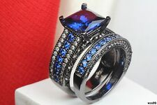 Bridal Princess Cut Blue Sapphire Black 925 Silver Engagement & Wedding Ring Set
