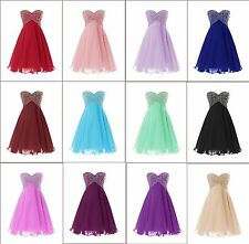 Stock Short Chiffon Bridesmaid Formal Gown Ball Party Cocktail Evening Prom gown