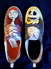 Custom Made Jack Skellington and Sally Canvas Trainers - Men's Sizes 7-11