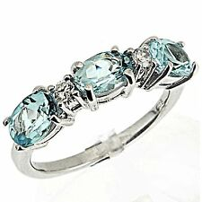 Sterling Silver 2.85 Ct Blue Topaz & CZ Ring Size 8