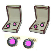 Hot Pink Wedding Cufflinks Circular with domed colour detail &wedding title text