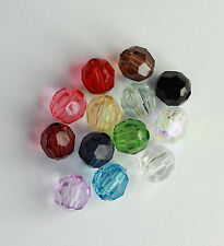 50 pcs Acrylic Transparent  Faceted Beads 8 mm (12 different Col) #5