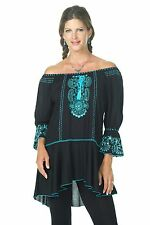 Krista Lee Tranquil Black/Turquoise Embroidered Beaded Tunic Top Blouse Shirt