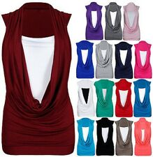 New Ladies Gathered Cowl Neck Womens Sleeveless Long Vest Top Plus Size 8-26