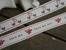 Love Me, Love Me Not Grosgrain Ribbons. Bird and Heart Crafting Ribbons. 16mm.