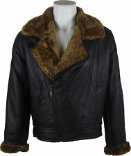 UNICORN Mens Sheepskin Cross Zip Jacket Brown With Brown Fur Leather Coat #CH