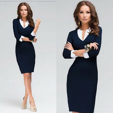 Women Fashion V-neck Dress Women Dress Women Casual Office Work Wear Dress