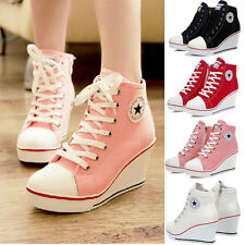 Women Girls High Top Lace Up Canvas Sneakers Platform Wedge Heel Comfort Shoes