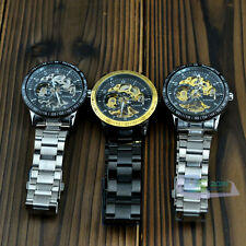Automatic Alloy Band Mechanical Skeleton Gold Silver Men's Wrist Watch + Box New