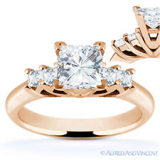 Square Cut Forever Brilliant Moissanite 5-Stone Engagement Ring in 14k Rose Gold