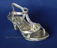 New Girls Gold Toddler Youth Kids Dress Shoes Strappy Heels Sandals Pageant