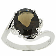 925 Sterling Silver 4.50ct Natural Smoky Quartz & White CZ Ring