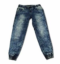 Men's Elastic Waist and Drop Crotch Slim Jogger Denim Cloud Wash Jeans