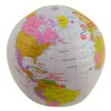 Inflatable 40cm World Globe Map Geography Ball Blow Up Pool Summer Earth Planet