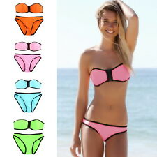 Women Bandage Strapless Triangle Bikini Push-Up NEOPRENE Swimsuit Swimwear EC