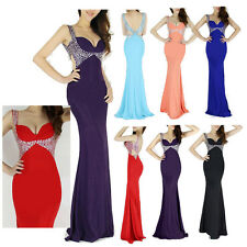 Sexy BEADED Bridesmaid Formal Evening Party Gowns Slim MERMAID Long Prom Dresses