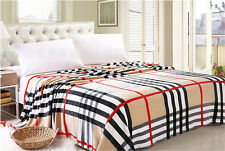 Checks Plaid Warm Soft Flannel Fleece Wrap Throw Blanket Bed Quilt Flat Sheet