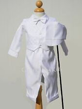 New Baby Boys Infant Christening Baptism White Outfit Set Dedication w/ Hat