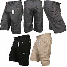 Mens New Summer Holidays Combat Cargo Plain Cotton Casual Shorts Pants S - XXL