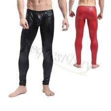 Sexy Mens Faux Leather Skinny Leggings Tight Long John Yoga Clubwear Dance Pants