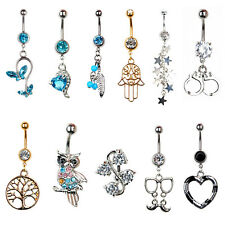 Steel Crystal Navel Belly Button Bar Ring Dangle Body Piercing Jewelry Crystal