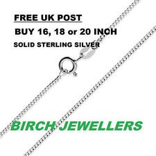 Solid Sterling Silver 925 Curb Chain Necklace 1mm 16/18/20/22/24inches Pendant