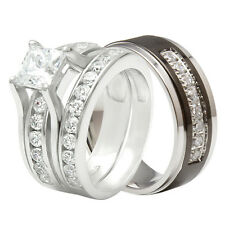 Couple 3 Pcs Hers 925 Sterling Silver His Black Titanium Wedding Ring Band Set