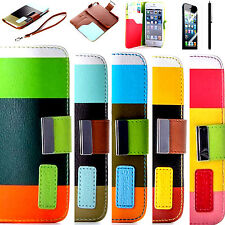 Heavy Duty Leather Credit Card Wallet Flip Stand Case Cover For iPhone 5 5S