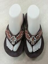 WESTERN COWGIRL RHINESTONE CROSS BLING FLIP FLOPS SIZE 7,8, AND 9