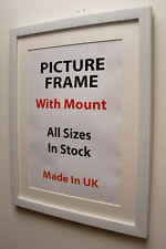 20mm White Picture Frame with Mount,Choice of Ivory,Black or White Mount