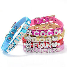Bling Personalized Dog Collar Customized Free Name Rhinestone Buckle Letter