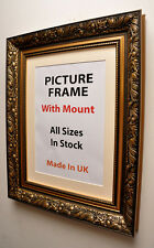 Antique Gold Picture Frame with Mount,Choice of Ivory,Black or White Mount