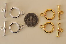 8 Sets Round Toggle Clasps Bright Silver / Gold Tone Alloy Findings - 14x18mm