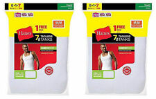 14 Hanes Mens White A-Shirt Tank Wife Beater Undershirt Value Pack Size S-XL