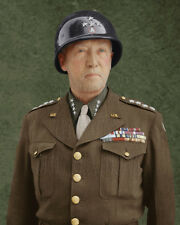 General George Patton Color Tinted Photo World War II 2 WW2 WWII I10007