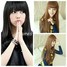 Women 3 Color Girls Full Long Straight Wigs Cosplay Party/Costume Hair Wig+Cap